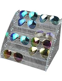 Fdit Acrylic Sunglasses Organizer Multilayer Display Case Tabletop Eyeglass Storage Box Durable Eye Glasses Storage Stand (Six Layers-Gray)