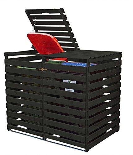 *Mülltonnenbox Holz V für zwei 240 Liter Tonnen, Farbe: Anthrazit*
