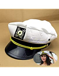 CADANIA Yacht Captain Hat Skipper Sailor Boat Ship cap Costume Party Bianco  Unisex - Bianco e 442f25071355
