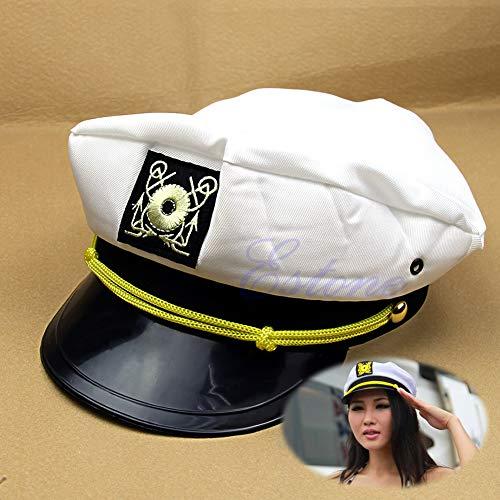 CADANIA Yacht Kapitän Mütze Skipper Seemann Boot Schiffskappe Kostüm Party Weiß Unisex - Schwarz & ()