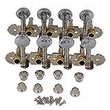 yibuy Silber Zink Legierung 4L + 4R 8Saiten Mandoline Stimmmechaniken Gitarre Tuning Schlüssel Heringe (L & R) mit Oval Metall Knopf 2Stück