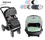 Original DOOKY ** Style UV+ 40 ** Universal Sonnenschutz/Sonnensegel/Sonnenblende für Kinderwagen und Babyschale (Black Feather)