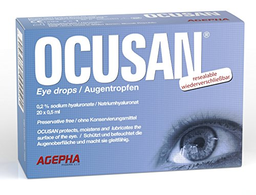 Ocusan® 20 praktische EDO Einmal-Augentropfen von AGEPHA I Mit Hyaluronsäure, Ohne Konservierungsmittel I Schutz für Trockene, Rote Augen & Linsenrungsmittel I Schutz für Trockene, Rote Augen & Linsen