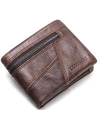 32ba5eecd9f441 HYSENM Herren Geldbörse Geldtasche Ledergeldbörse Portemonnaie echt Leder  Querformat/Hochformat klein Schwarz/Braun