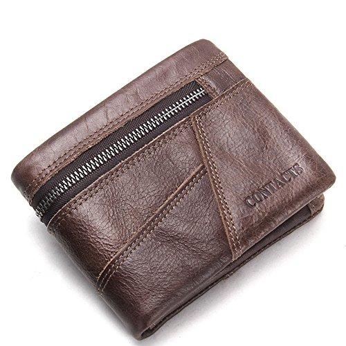 bb354e6d28255 HYSENM Herren Geldbörse Geldtasche Ledergeldbörse Portemonnaie echt Leder  Querformat Hochformat klein Schwarz Braun