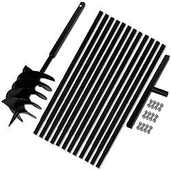 mewmewcat Mèche Jardin Tarière Foret Tarière Bêche et Tarière Manuelle 200mm avec Rallonge Mèche Tarière 13m Acier Noir