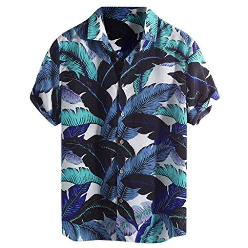 Xmiral Camicie Allentate a Manica Corta da Uomo in Hawaiian Beach Stampate con Colletto rovesciato (XXL,10- Blu)