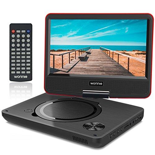"""WONNIE 9.5\"""" Tragbarer DVD-Player drehbares HD Display 4 Stunden Akku, Unterstützt USB/SD Slot, AV Out/in, mit 1.5M Auto-Ladegerät und Stromadapter (Rote)"""