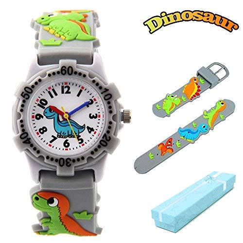 El Reloj de Niños de Vinmori, Reloj de Cuarzo con Dibujos Animados Bonitos de 3D a Prueba de Agua Regalo para Chicos Niños y Niñas Dinosaurio gri