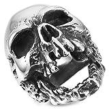 MunkiMix Grande Gran Acero Inoxidable Anillo Ring El Tono De Plata Cráneo Calavera Gótico Gothic Talla Tamaño 17 Hombre