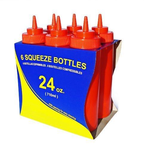 Star 26405 Wide Mouth, Squeeze-Flaschen, 24 ml, Rot, 6 Stück mit neuen Star Foodservice Rot Wide Mouth