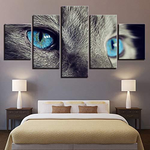 �lde Modulare Wandkunst Poster 5 Stücke Schöne Tier Blaue Augen Katze Bilder Für Wohnzimmer Wohnkultur Rahmen-Frame ()