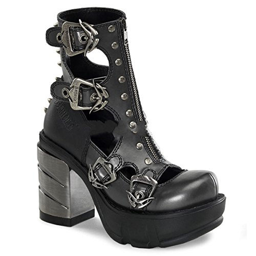 Demonia Sinister-61 - Gothic Industrial Metall High Heels Schuhe 36-43, Größe:EU-38 / US-8 / UK-5