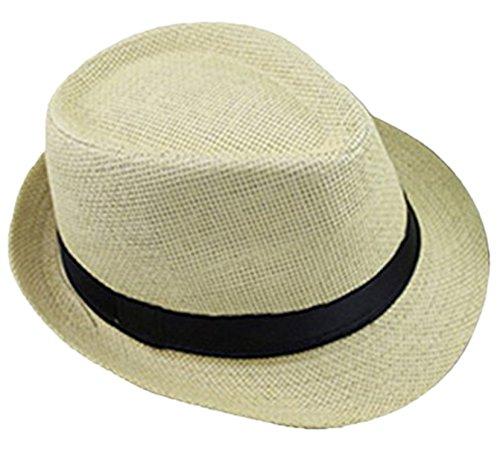 Demarkt Paille Panama Capeline Chapeau Anti UV Pour été Plage Loisirs Voyage Chapeau D'été Beige Clair 1PC