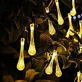 lederTEK Lámparas de Gotas de Agua de 20 Led de Luz de Blanco Cálido con Energía Solar para Navidad, Patio, Jardín, Terraza y Todas las Decoraciones