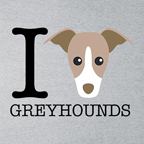 I Heart Greyhounds Women's Hooded Sweatshirt Heather Grey
