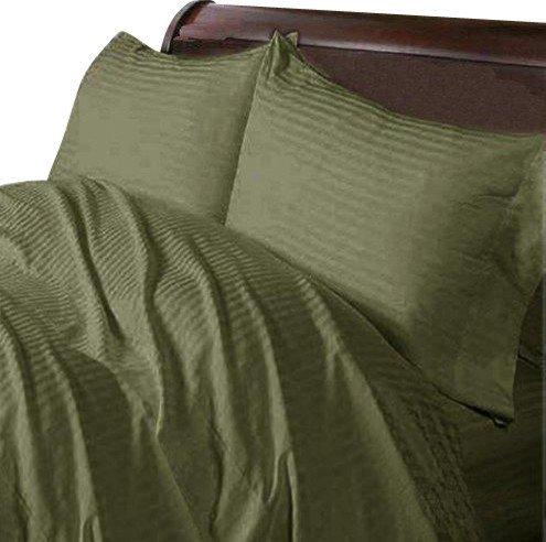 Scala Luxuriöse Ägyptische Baumwolle, 8-Bettwäsche Fadenzahl 400 4pc Plansatz-&, 3-teiliges Set Bettdecke mit Rock, UK King Moss Olive 400TC, gestreift, 100% Baumwolle - Luxuriöse 400 Thread