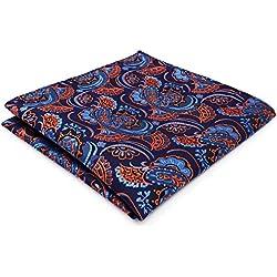 Pañuelo de Seda De Bolsillo. Azul Naranja Floral Geométrico