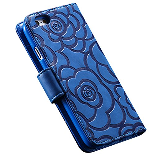 Custodia iPhone 6S, ISAKEN Custodia iPhone 6, iPhone 6 Flip Cover in Color, Elegante Fiori Pattern Design Custodia PU Pelle Protettiva Portafoglio Case Cover per Apple iPhone 6 4.7 / con Supporto di  rose: blu