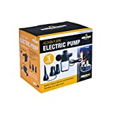 Milestone Camping AC240V/130W AC Electric Air Pump inflator/deflator for airbeds paddling pools & toys. Universal valves. 3 pin UK plug. Black