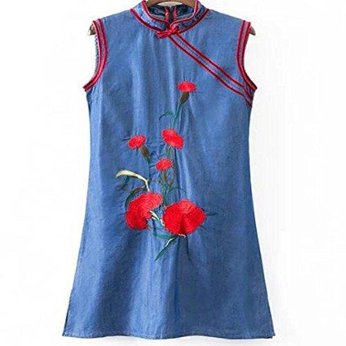 WXLQ fiori ricamo di estate vestito dal denim (Ragazze Lungo Pannello Esterno Del Denim)