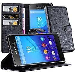 Cadorabo Étui de Protection pour Sony Xperia M5 avec Compartiment pour Cartes et Fonction Support Noir Phantom