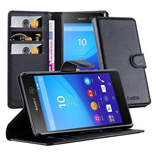 Cadorabo - Book Style Hülle für Sony Xperia M5 - Case Cover Schutzhülle Etui Tasche mit Standfunktion und Kartenfach in PHANTOM-SCHWARZ