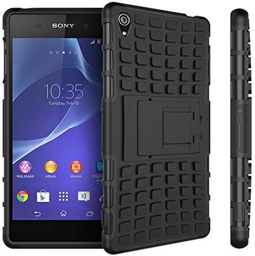 Preisvergleich Produktbild Nnopbeclik Sony Xperia Z3 Hülle,  Dual Layer Rugged Armor stoßfest Handy Schutzhülle Silikon Tasche für Sony Xperia Z3 - Schwarz + 1x Display Schutzfolie Folie