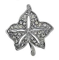 Jodie Rose Leaf Shape Clear Crystal Base Metal Pendant Brooch