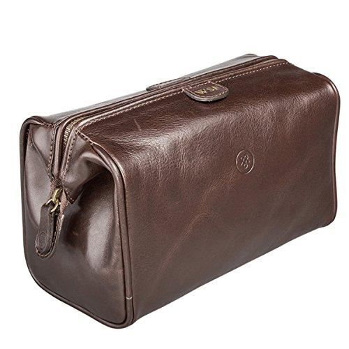 Maxwell-Scott Personalisierte Hochwertige Kleine Leder Kulturtasche DunoM in Dunkelbraun