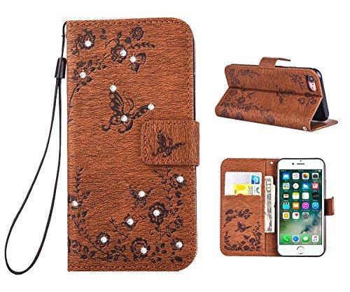 """MOONCASE iPhone 7 Hülle, Premium Leder Schutzhülle [Blumen Schmetterling Serie] PU Leder Flip Handyhülle Tasche Case für iPhone 7 (4.7"""") Grün Braun"""