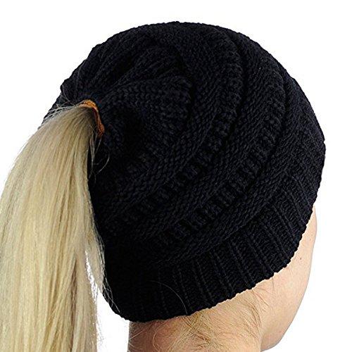 iParaAiluRy Grobstrick Damen Mädchen Mütze mit Zöpfen Loch - Warme Pferdeschwanz Strickmütze Wintermütze Frauen, Schwarz, Einheitsgröße -