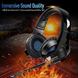 YIMAN Gaming Headset Foldable, Noise Canceling Stereo Bass Surround Gaming Headphone with Microphone&Control for PS4, Xbox One, Nintendo Switch, 3.5MM pin for Smart phone, Laptops, Tablet, Computer