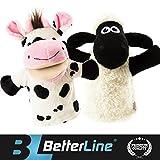 Tier Handpuppen 2er Set - Premium Qualität, 24 cm Weicher Plüsch Handpuppen für Kinder - perfekt zum Geschichtenerzählen, Lehren, Vorschule, Rollenspiel - von BetterLine (Kuh und Schaf)