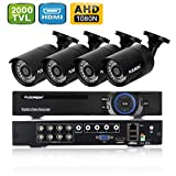 FLOUREON DVR Kit Videosorveglianza (8CH 1080N AHD HDMI DVR + 4 * 960P 2000TVL 1.3MP Telecamera...