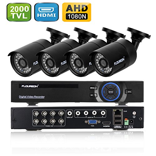FLOUREON DVR Kit Videosorveglianza (8CH 1080N AHD HDMI DVR + 4 * 960P 2000TVL 1.3MP Telecamera Esterno), Backup USB, Allarme Email, Sistema di Sicurezza, Hard Disk Non Incluso