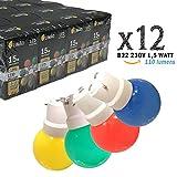 Limão - Lot de 12 ampoules LED B22 1,5W - 110 Lumens - Rouges, Bleues, Vertes et Jaunes incassables (équivalent 15W) pour Guirlande Extérieure - Ergots renforcés