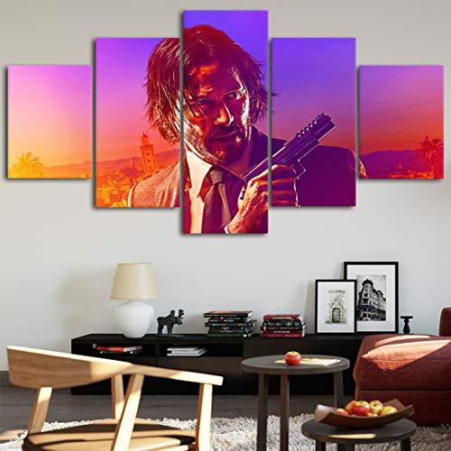 Angel&H Segeltuch Plakate John Wick Zuhause Dekor Wandkunst 5 Stücke Gemälde zum Wohnzimmer HD Druckt Film Bilder,B,20x30x2+20x50x1+20x40x2