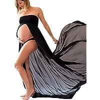 BIUBIONG Chifón Vestido para Premamá Tubo Superior Split de Color Sólido para Embarazada, EU 34-46