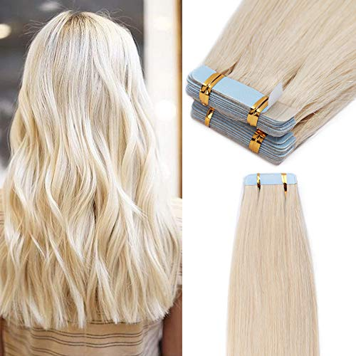 Extension capelli biadesivo 100g 40 ciocche capelli naturali con adesive tape hair extension biadesive remy human hair (60cm #70 bianco chiarissimo)
