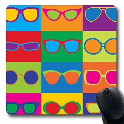 Mousepads Pattern Styled Generic Brillen Sonnenbrillen Eye Frames Achtziger Jahre Längliche Form Rutschfeste Gaming Mouse Pad Gummi Längliche Matte,Gummimatte 11,8
