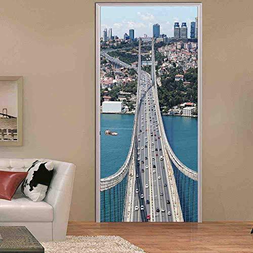 LLHBDA camera da letto 3d ponte porta adesivo decorazione della casa 70x200 cm autoadesivo adesivo rimovibile impermeabile porta scorrevole carta da parati,95x215cm