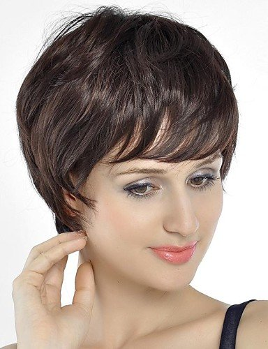 Fashion cheveux Chatain Marron Couleur court cheveux bouclés perruque