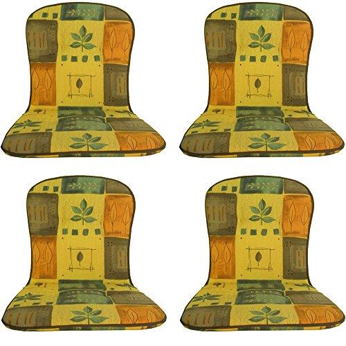 beo Niedriglehner B832 Kos MN Monoblockauflage für niedrige Stapelstühle, 151825, circa 44 x 80 cm, Stärke 2,5 cm, 4-er Pack, gelb