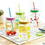 #4: SK-tm ® Fancy Fruit Mason Jar 500 ml with Re-usable straw Pack of 4 (Random color)