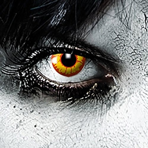 Ork, gelb-rote 3-Monats Halloween Linsen Zombie Linsen, Steampunk Zombie Make up Zombie Schminke Cosplay, Manga