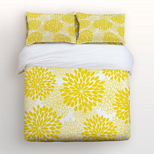 SUN-Shine Ultra Soft 4Pcs Bettwäsche Sets Baumwolle Moderne Luxus Bettwäsche Dahlia Floral Bedruckte Home Tröster Tagesdecke Bettbezug Set Full Gelb - Solide Tröster Set