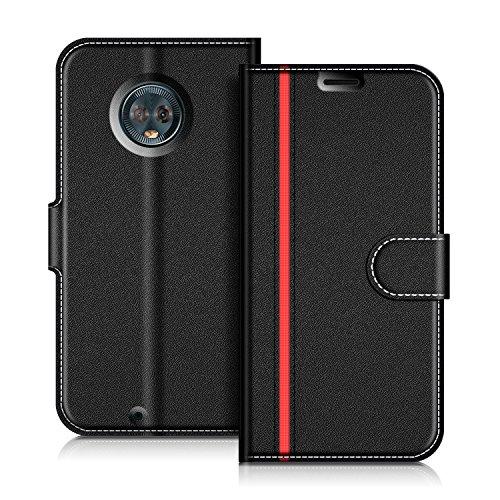 COODIO Handyhülle für Motorola Moto G6 Handy Hülle, Motorola Moto G6 Hülle Leder Handytasche für Motorola Moto G6 Klapphülle Tasche, Schwarz/Rot