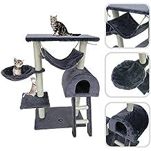Todeco Árbol para Gatos, Escalador para Gatos - Material: MDF - Tamaño de la casa de gato: 35,1 x 35,1 x 24,9 cm - 100 cm, 5 plataformas, Gris
