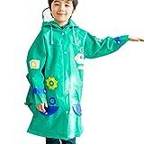 Highdas Kinder Raincoat mit Reflective Hut und Schulranzen Platz (Grün) M